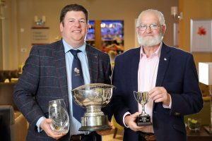 Greer and Bertie Watson, Crossgar, with some the trophies they received at the NI Hereford Breeders' Association dinner, Enniskillen. Picture: Cliff Donaldson