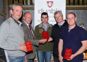 Large Herd winners William McMordie with 2nd John Conlon and 3rd David Wilson with Judge Steve Edward and Dunbia Sponsor Kenny Linton