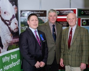 Danske Bank sponsor  the Northern Ireland Hereford Breeders Association, Premier Show and Sale in Dungannon on the 20th of January 2017. Rodney Brown, left, Danske Bank is pictured with John McMordie,and Ivan Haire, from the NI Hereford Association. Photograph: Columba O'Hare