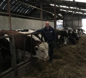 Brian Mawhinney with his pedigree Hereford stock Bull