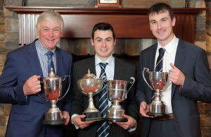 Prize winners with their awards at the Hereford Society annual dinner. Picture: Cliff Donaldson (See Ivan Haire for full caption) John, William and Andrew McMordie from Ballygowan with their awards at the Hereford Society annual dinner.