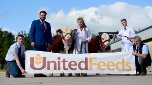 From left Andrew McMordie (representing United Feeds sponsor, Judge James Ludgate, champion young Handler C Dorman, reserve John Andrews and association Chairman John Gill