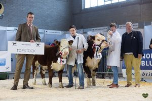 From Left sponsor Topstock, Robbie Wilson with Lisrace Finola Dell reserve Junior Champion, Ethan Small with Junior Champion Drumshanbo 1 Big Show and judge George Bowen
